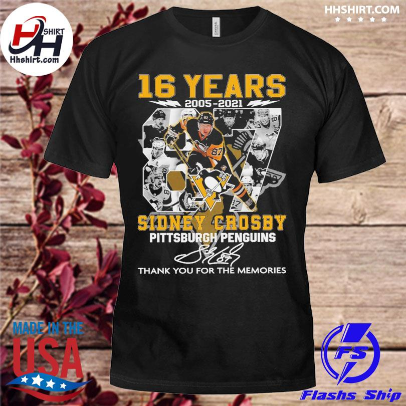 16 years 2005 2021 87 Sidney Crosby Pittsburgh Penguins thank you for the memories signatures shirt
