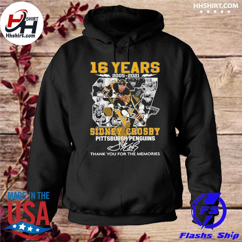 16 years 2005 2021 Sidney Crosby Pittsburgh penguins thank you for the memories signatures hoodie