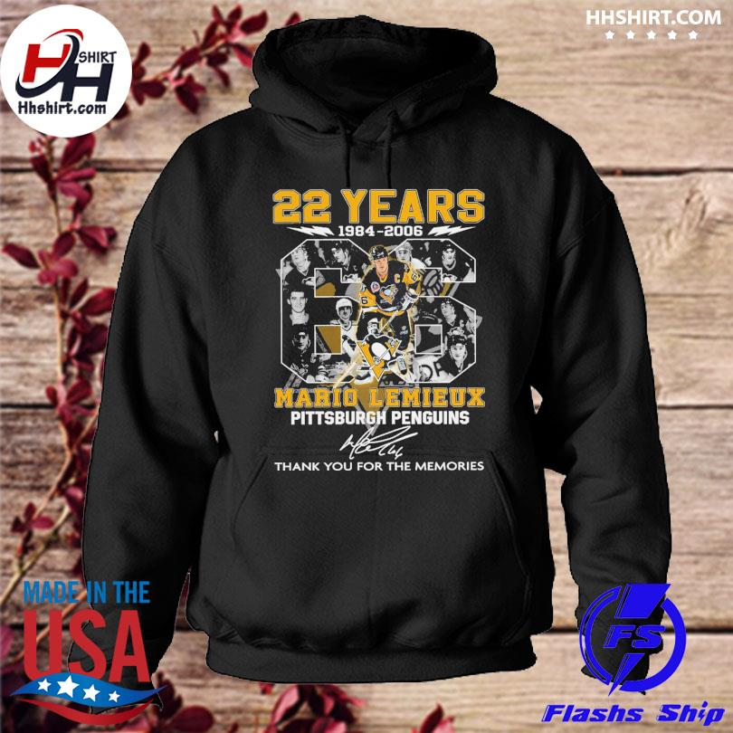 22 years 66 Mario Lemieux Pittsburgh Penguins thank you for the memories signatures hoodie