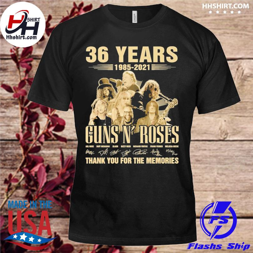 36 year Guns N' Roses thank you for the memories signatures shirt