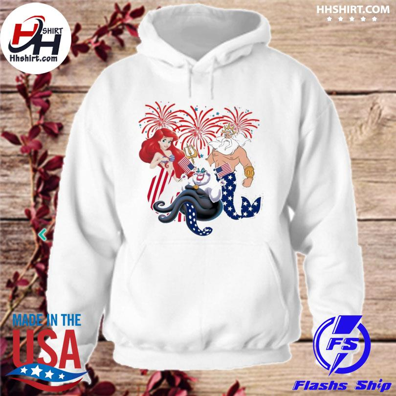 4th of july the little mermaid American flag ariel ursula king triton hoodie