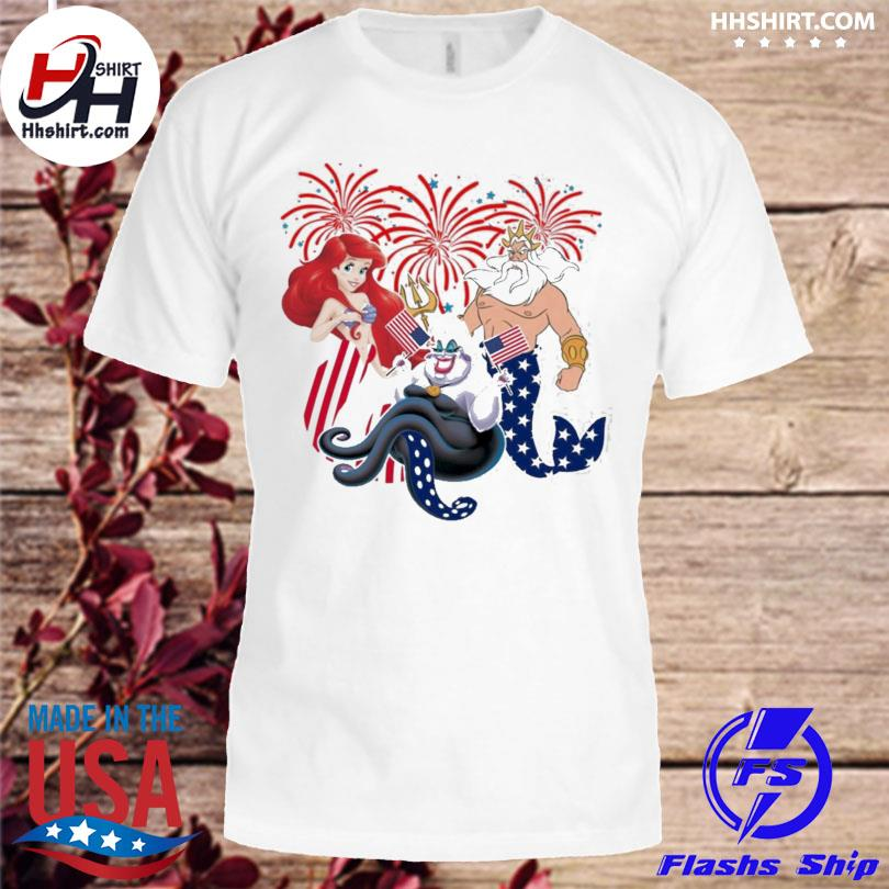 4th of july the little mermaid American flag ariel ursula king triton shirt