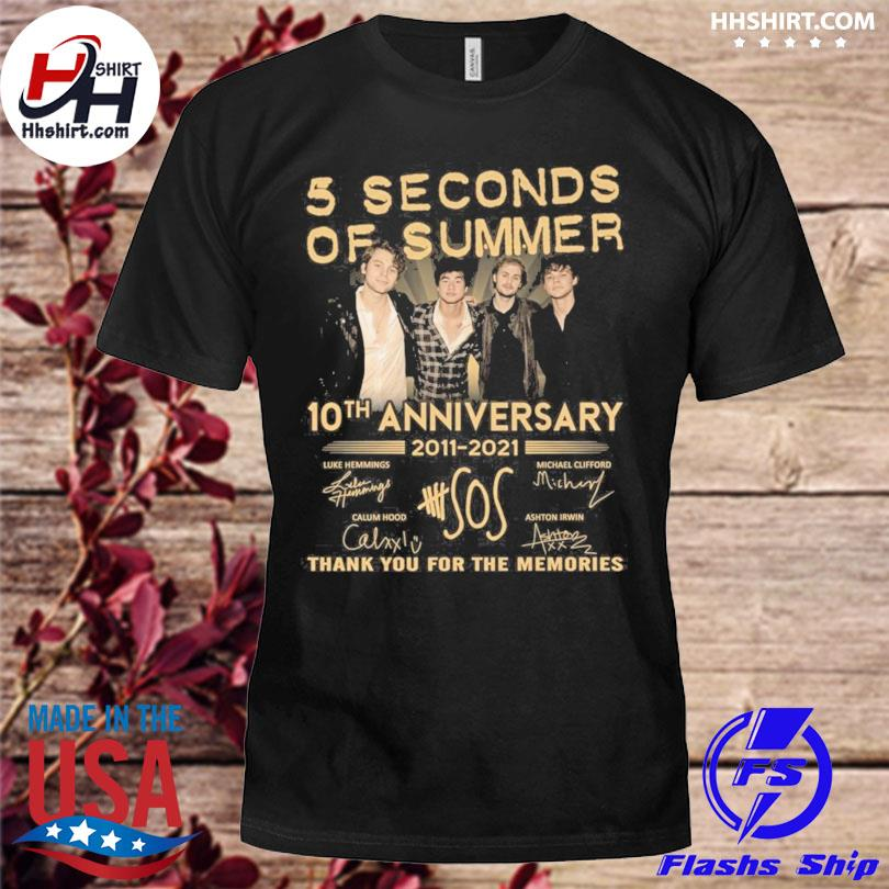 5 Seconds of Summer 10th anniversary thank you for the memories signatures shirt