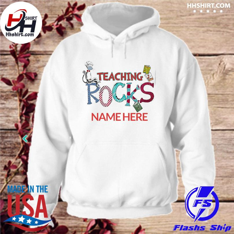 Dr seuss face mask teaching rocks name here hoodie