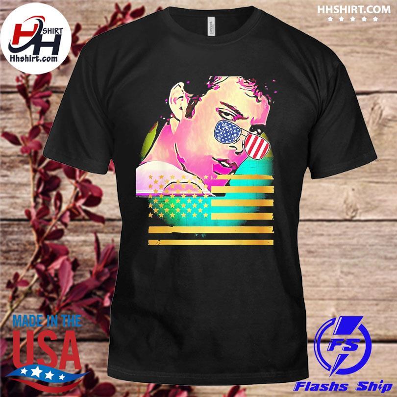 Retro glare glasses patriotic flag shirt