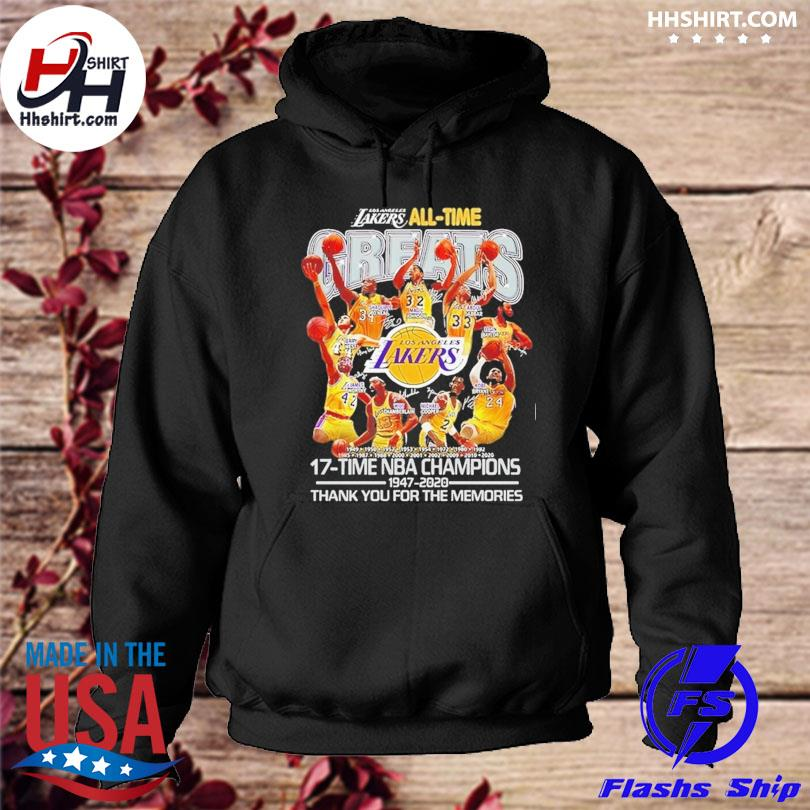 Los Angeles Lakers all time greats 17-time nba champions thank you for the memories signatures hoodie