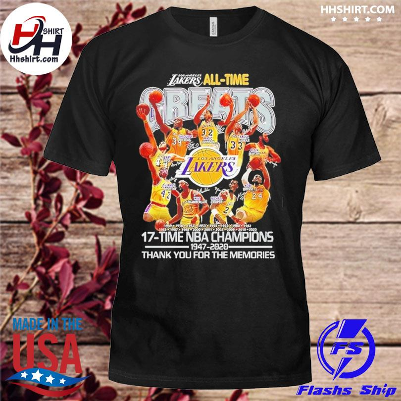 Los Angeles Lakers all time greats 17-time nba champions thank you for the memories signatures shirt