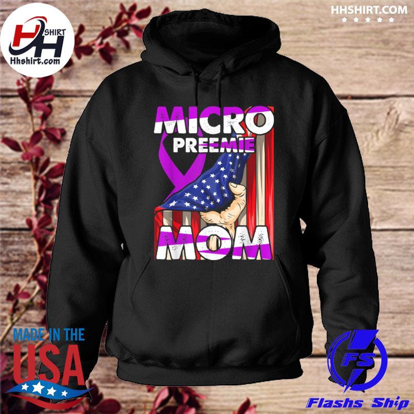 Micro preemie nicu mom premature birth American flag hoodie