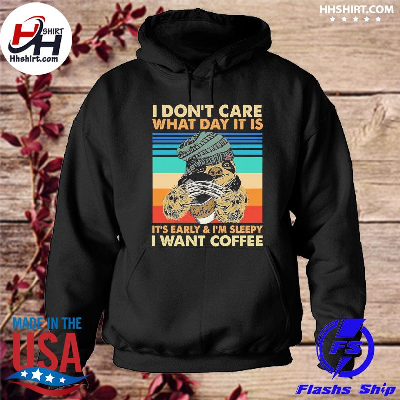 Official Sloth wolverine I don't care what day it is I want coffee vintage hoodie