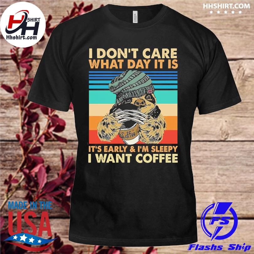 Official Sloth wolverine I don't care what day it is I want coffee vintage shirt