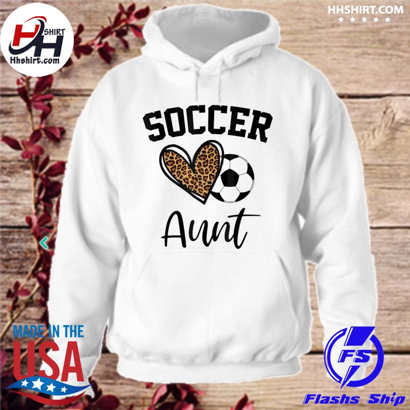 Soccer aunt leopard heart mothers day hoodie