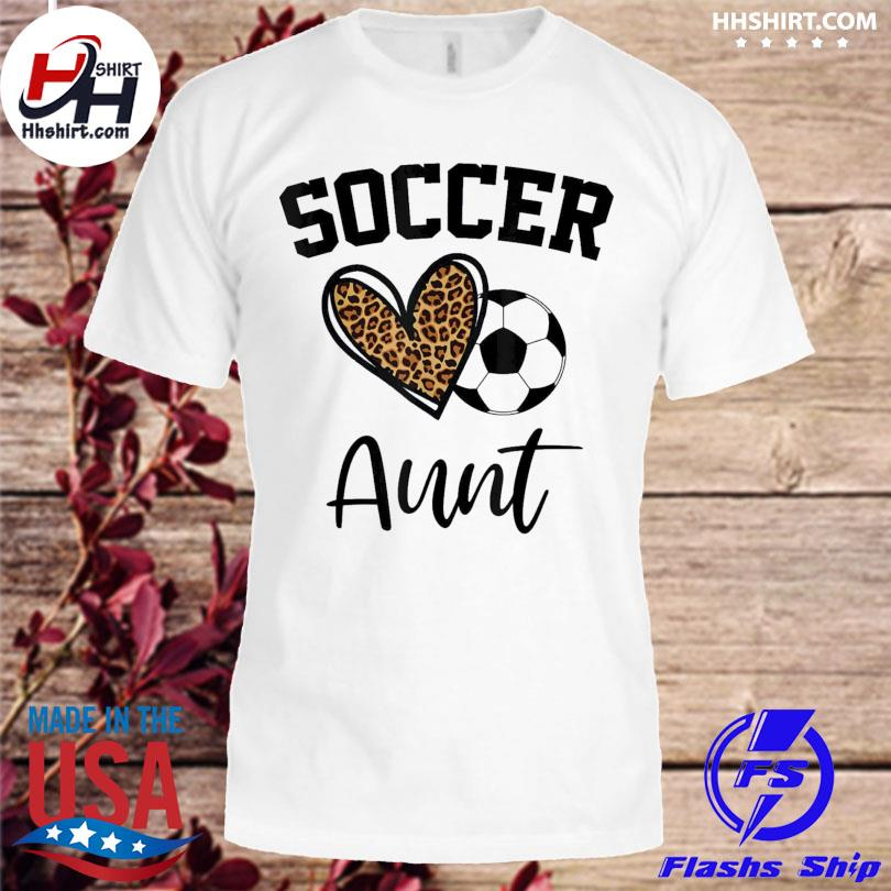 Soccer aunt leopard heart mothers day shirt