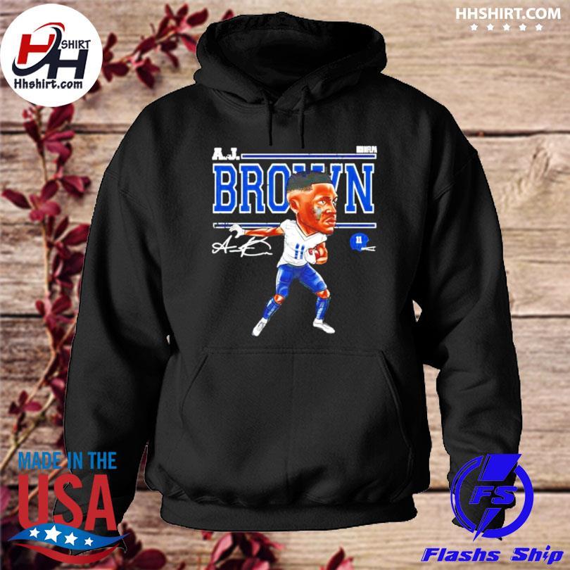 Tennessee football aj brown cartoon signature hoodie