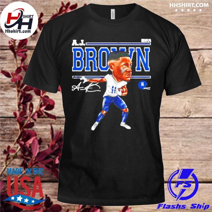 Tennessee football aj brown cartoon signature shirt
