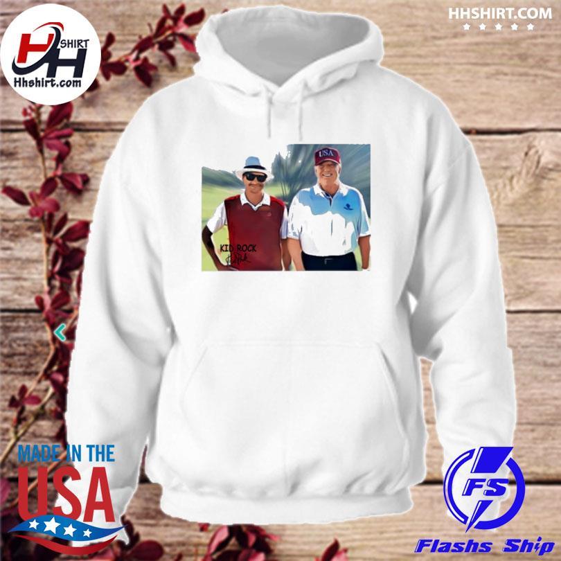 Kid rock wore American flag pants to golf with president Trump hoodie