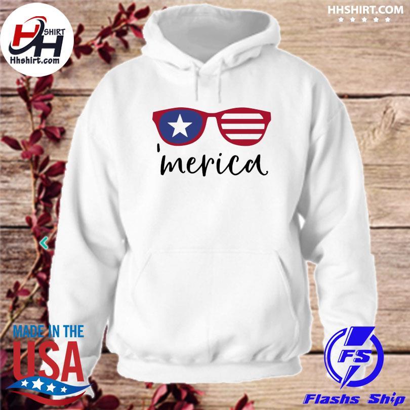 Merica glasses american flag hoodie