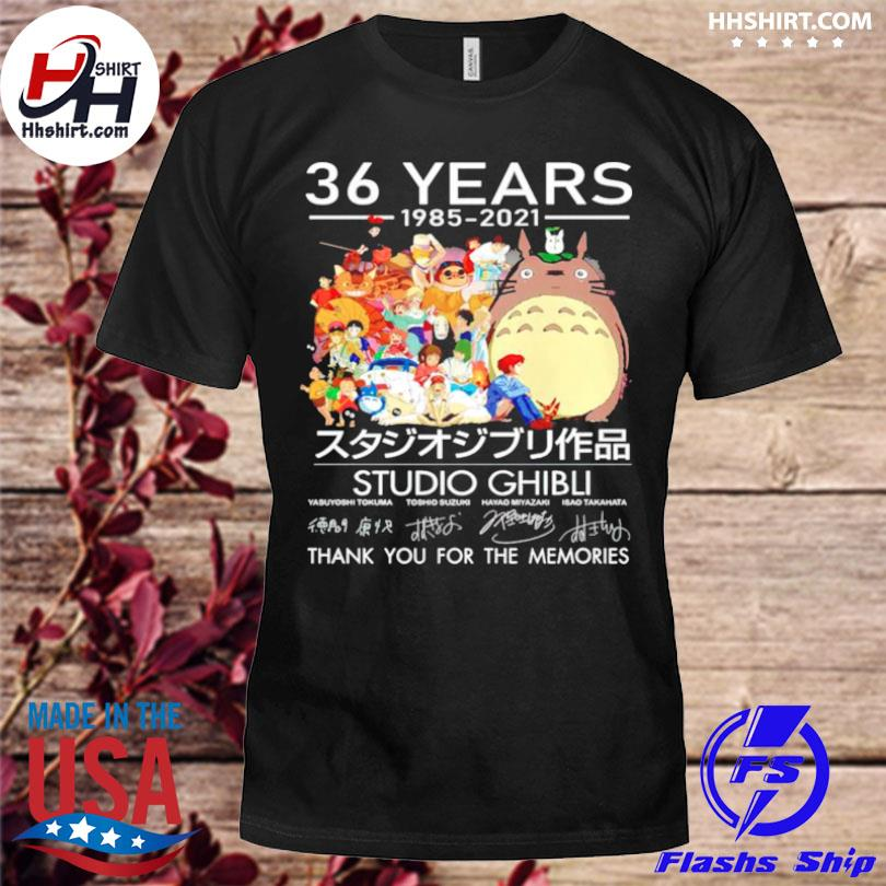 Official 36 years studio ghibli 1985 2021 thank you for the memories shirt
