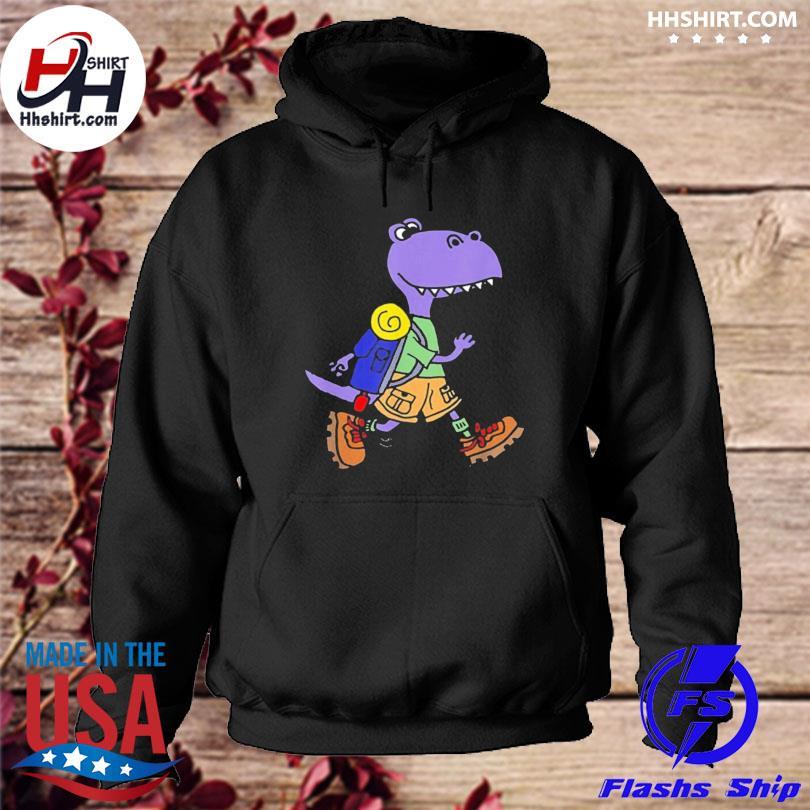 Smileteeshoba trex dinosaur hiking nature cartoon hoodie