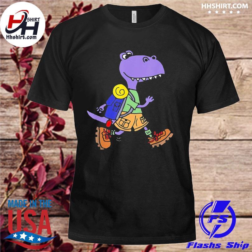 Smileteeshoba trex dinosaur hiking nature cartoon shirt