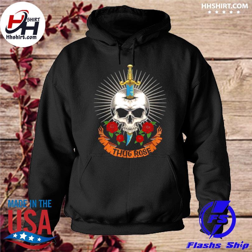 Thug rose skull logo hoodie