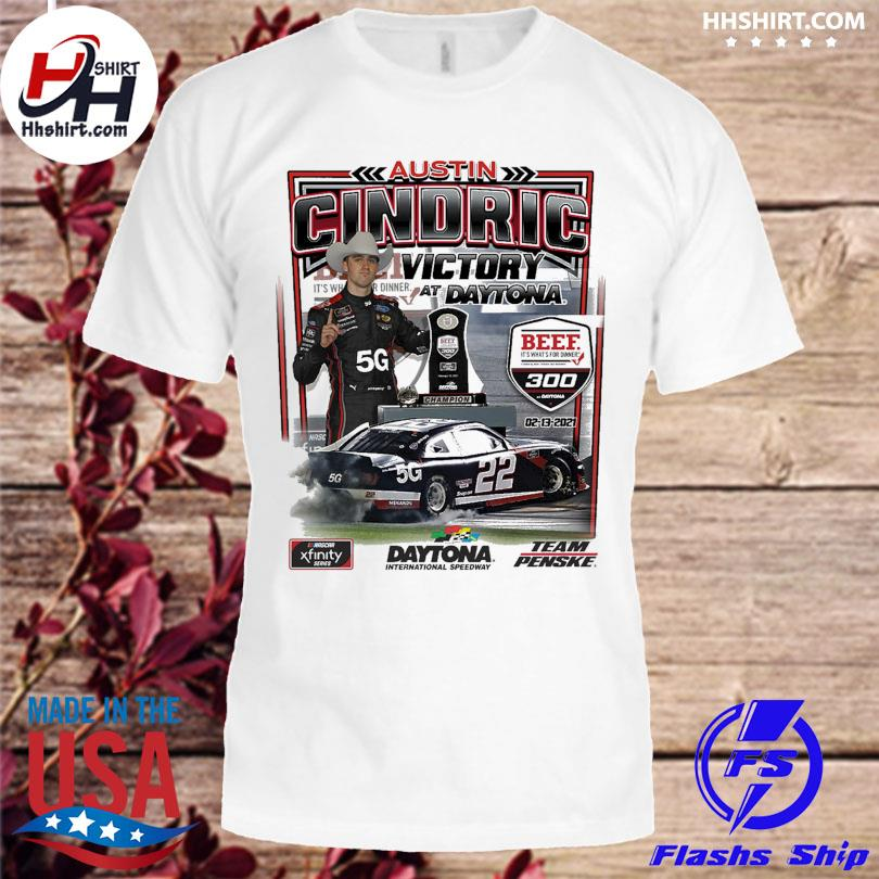 Austin Cindric Checkered Flag White 2021 NASCAR Xfinity Series Beef. It's What's For Dinner. 300 Race Win T-Shirt