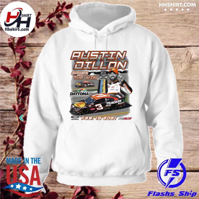 Austin Dillon Checkered Flag White 2021 Bluegreen Vacations Duel 2 Race Winner T-Shirt hoodie