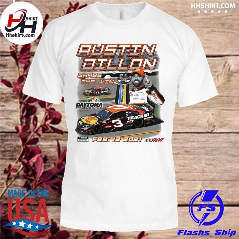Austin Dillon Checkered Flag White 2021 Bluegreen Vacations Duel 2 Race Winner T-Shirt