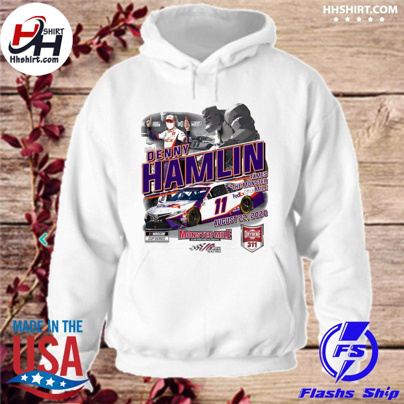 Denny Hamlin Checkered Flag White 2020 Drydene 311 Saturday Race Winner One-Hit T-Shirt hoodie