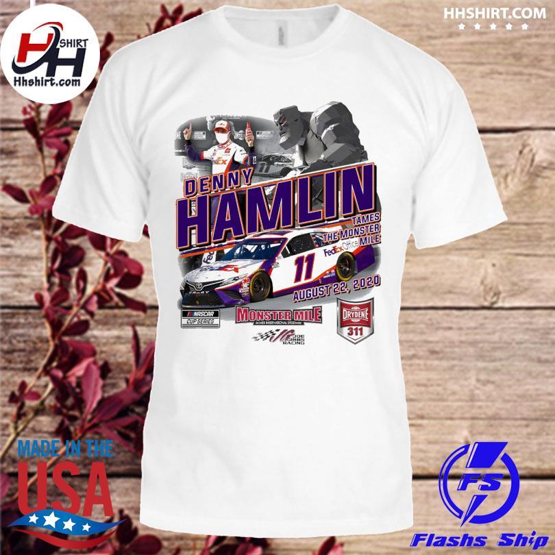 Denny Hamlin Checkered Flag White 2020 Drydene 311 Saturday Race Winner One-Hit T-Shirt