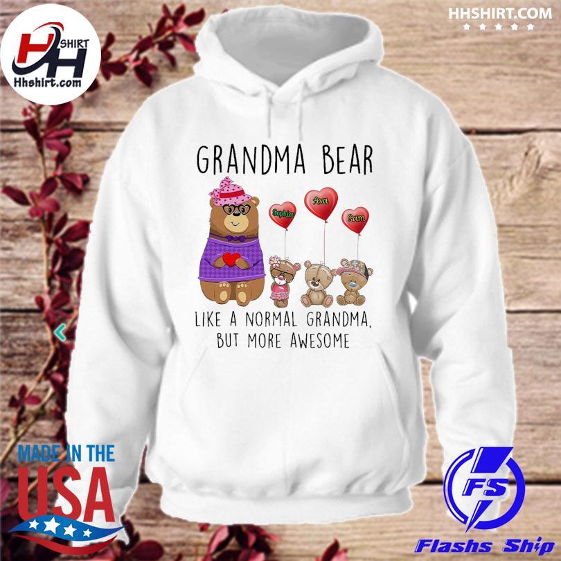 Grandma bear and grandkids name like a normal grandma but one more awesome s hoodie