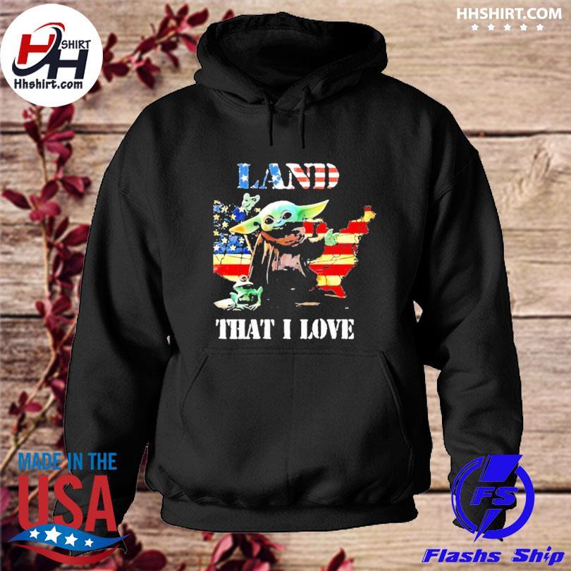 Land that I love Yoda frog American flag s hoodie
