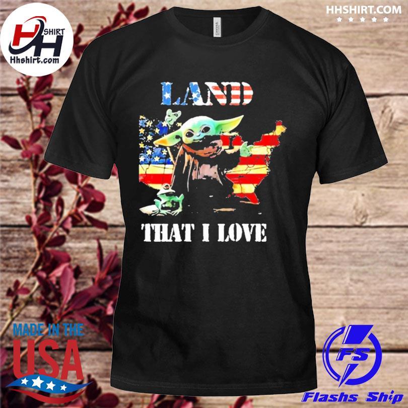 Land that I love Yoda frog American flag shirt