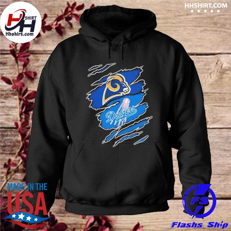 Los Angeles Rams And Los Angeles Dodgers Layer Under Ripped Shirt hoodie