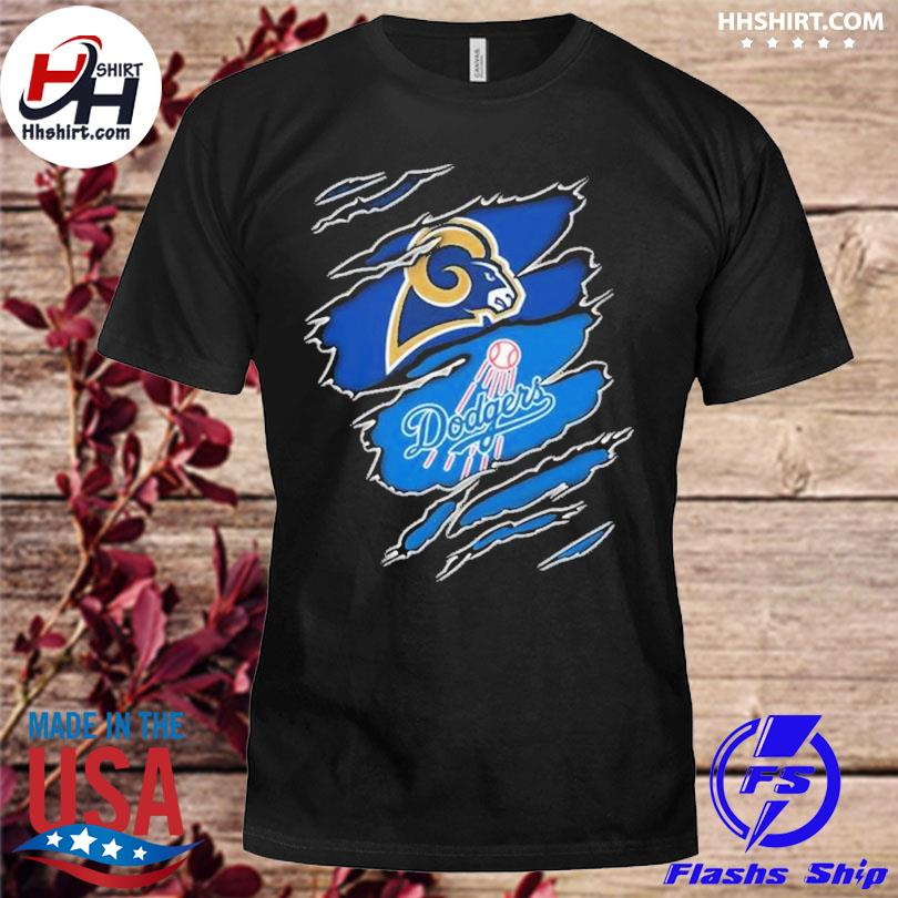 Los Angeles Rams And Los Angeles Dodgers Layer Under Ripped Shirt