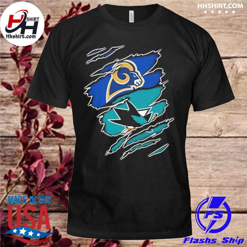 Los Angeles Rams And San Jose Sharks Layer Under Ripped Shirt