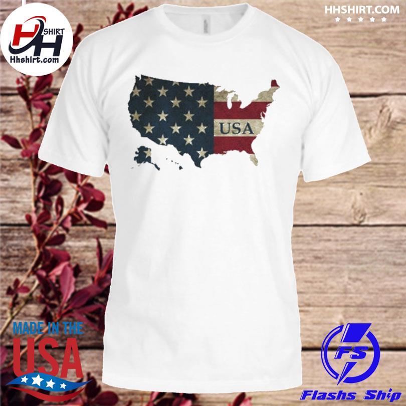 Map American flag shirt