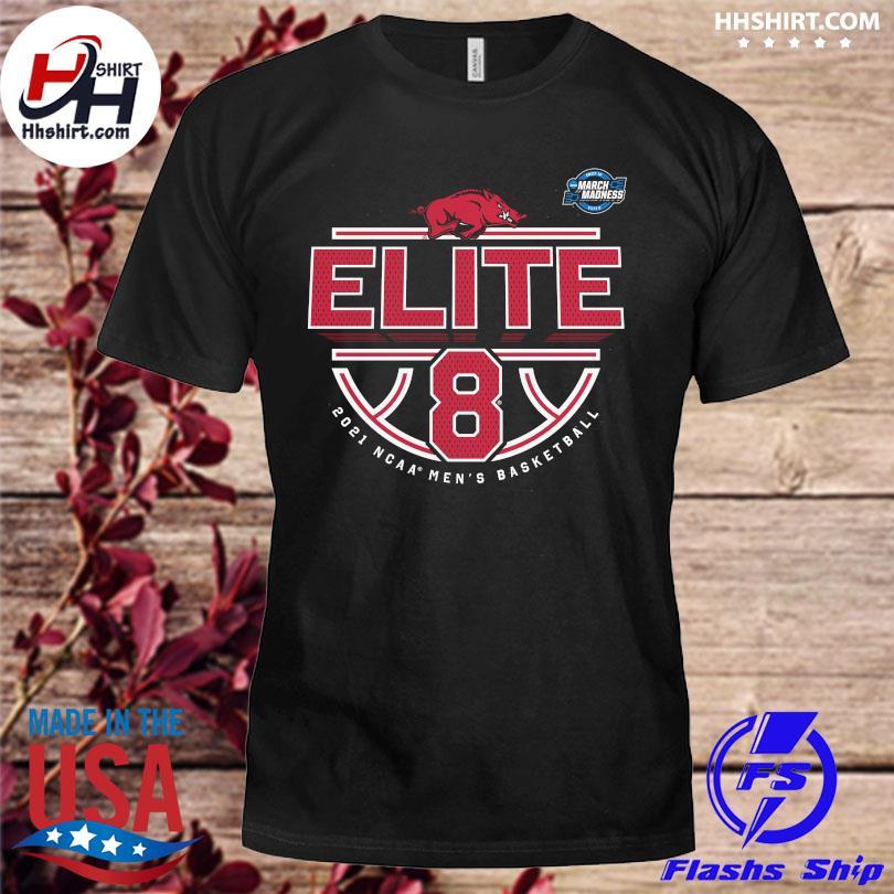 Official arKansas razorbacks 2021 ncaa men's basketball tournament march madness elite 8 bound tri-blend shirt