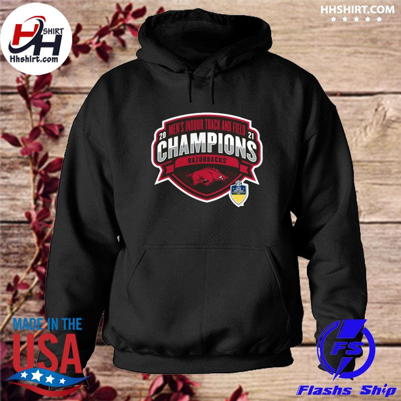 Official Arkansas Razorbacks 2021 sec men's indoor track and field conference champions s hoodie