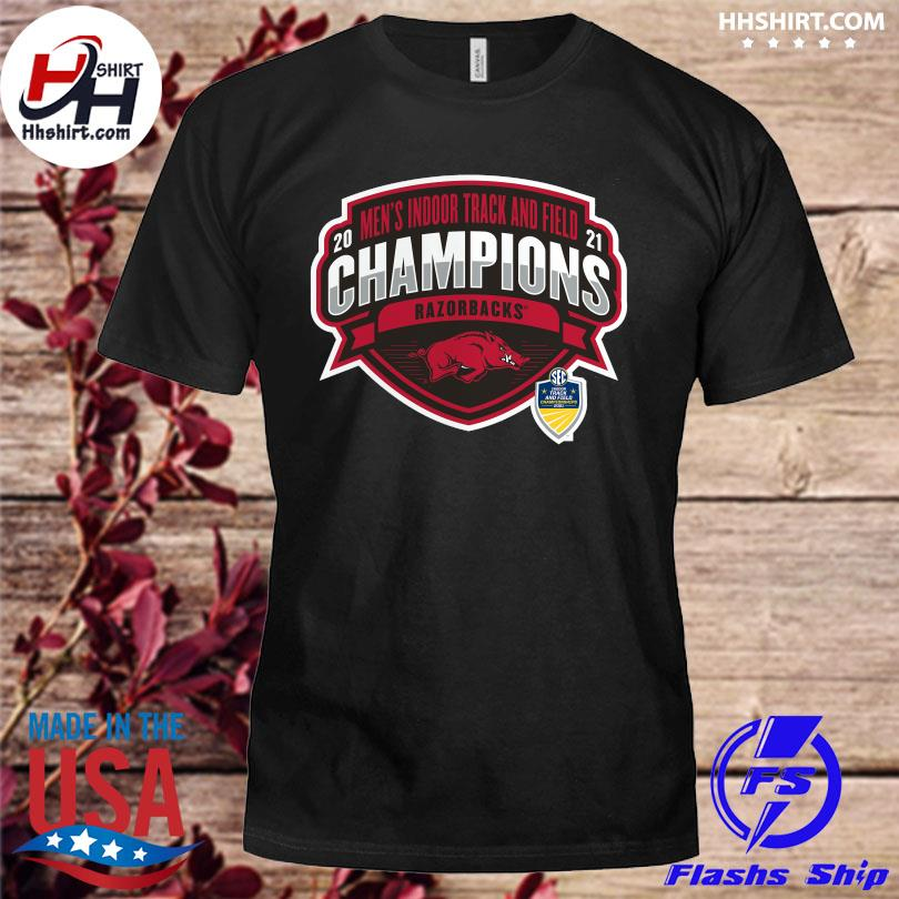 Official Arkansas Razorbacks 2021 sec men's indoor track and field conference champions shirt