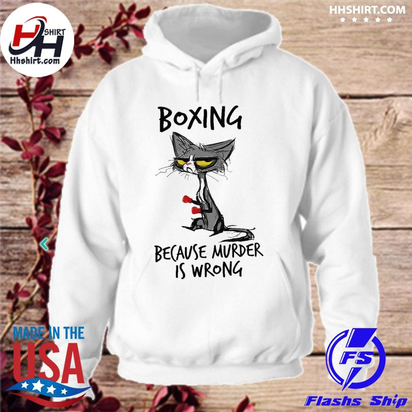 Official Black Cat boxing because murder is wrong s hoodie