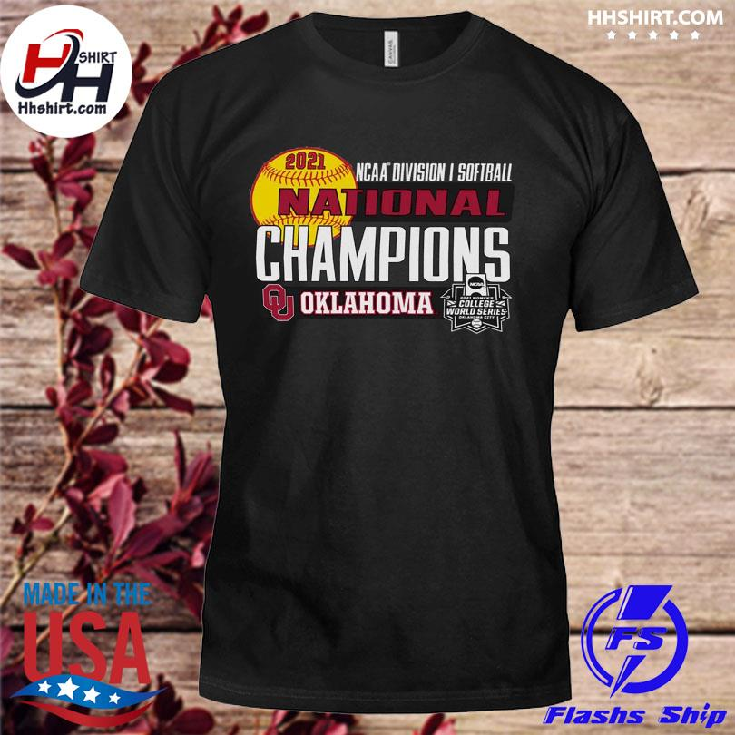Official Oklahoma sooners women's 2021 ncaa softball women's college world series champions locker room shirt
