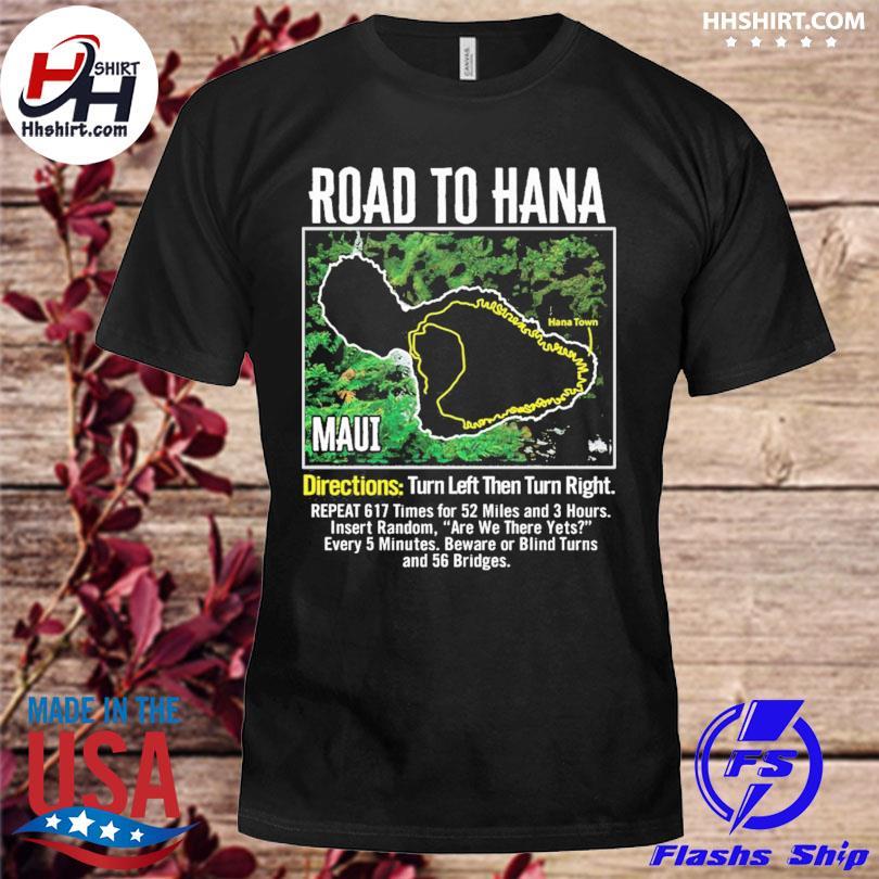 Official Road to hana map maui island guide hawaii hawaiian shirt