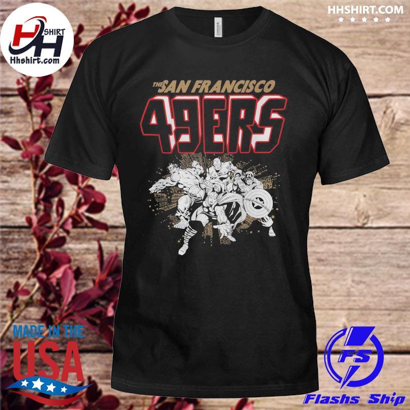 Official San francisco 49ers junk food marvel shirt