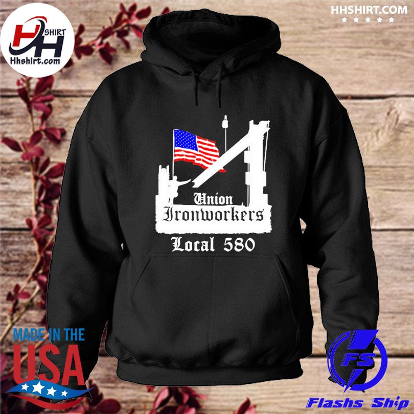 Official Union ironworkers local 580 nyc American flag architecture s hoodie