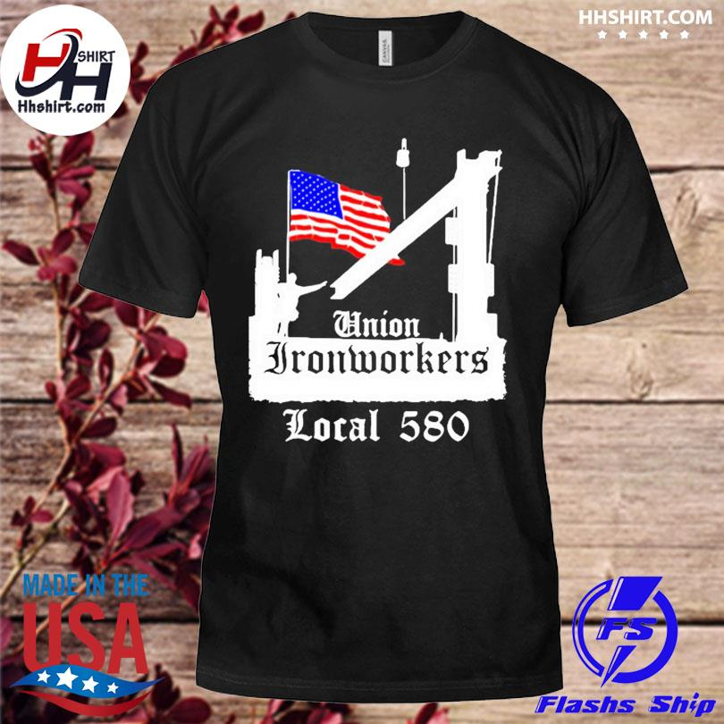 Official Union ironworkers local 580 nyc American flag architecture shirt