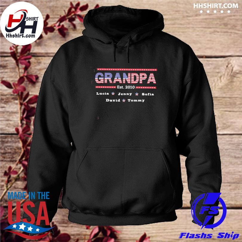 Personalized American flag grandpa with grandkids name 4th of july independence day 2021 s hoodie
