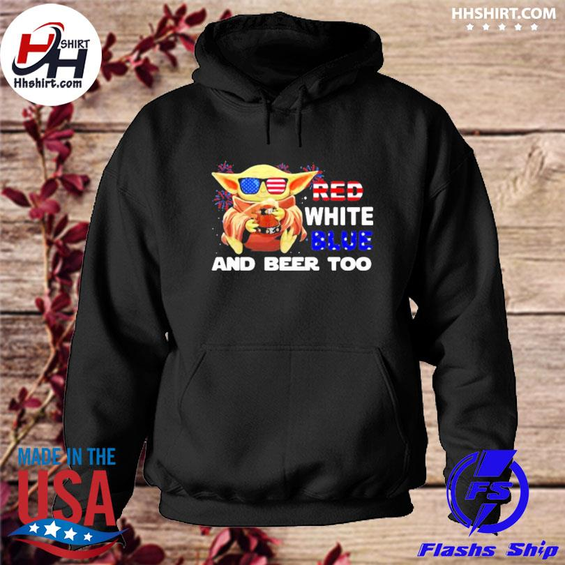 Red white blue and beer too Yoda firework 4th of july independence day s hoodie