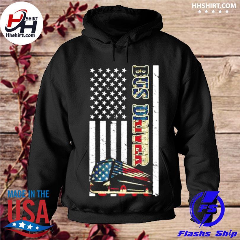 School bus driver American flag s hoodie