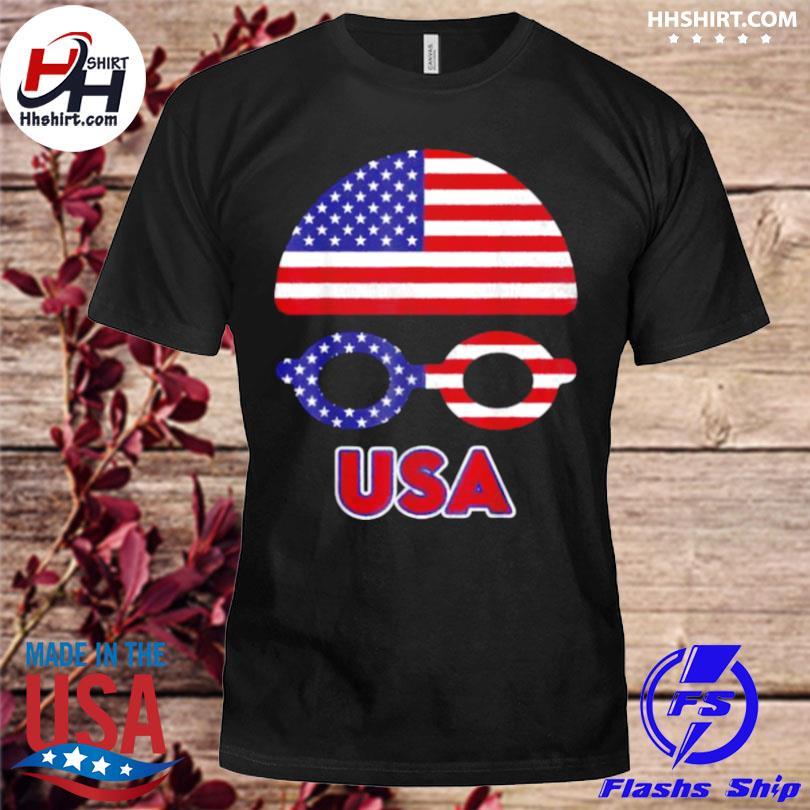 Usa swimming American flag shirt