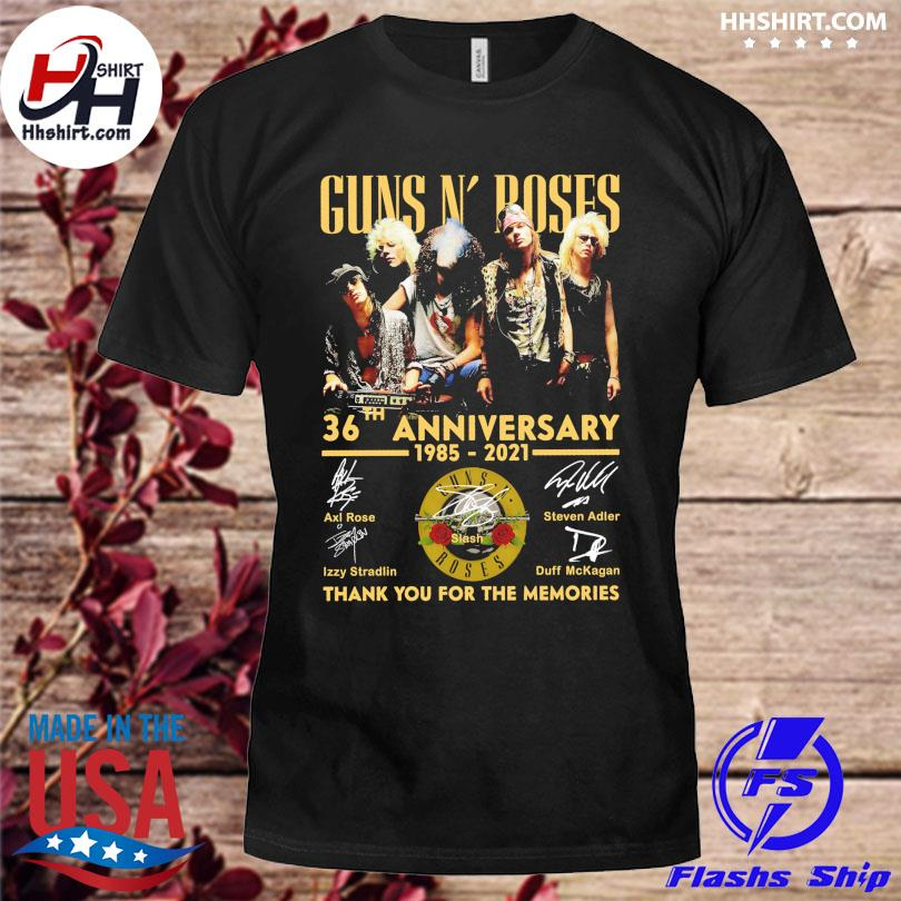 Official Guns N' Roses 36th anniversary 1985 2021 thank you for the memories signatures shirt